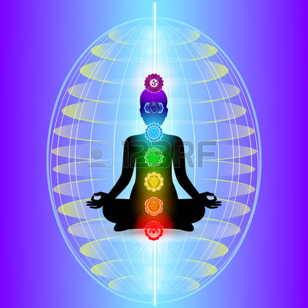 56582298 human aura with seven sparkling chakras vector